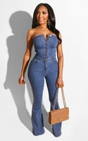 Hot style women's fashion sexy tight sleeveless breast wrap casual flared denim jumpsuit