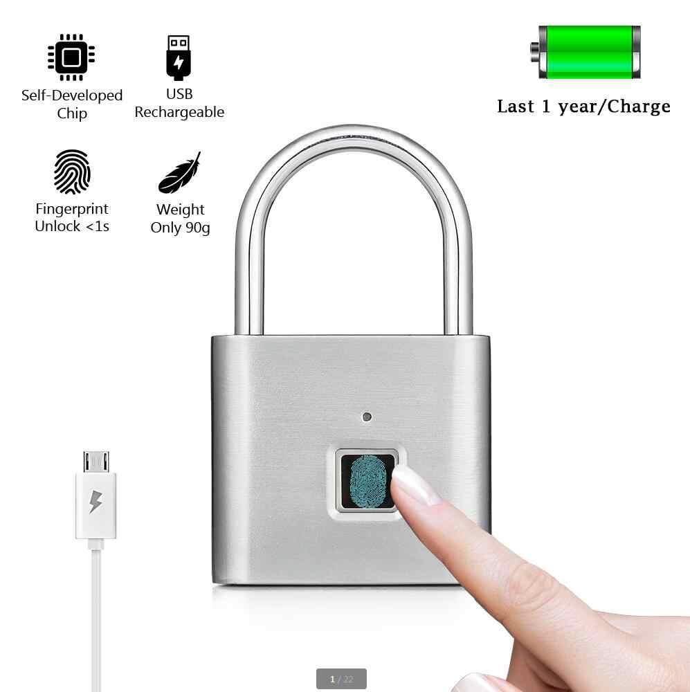 Keyless USB ชาร์จประตูล็อคลายนิ้วมือสมาร์ทกุญแจปลดล็อกด่วนโลหะผสมสังกะสีโลหะ Self การพัฒนาชิป