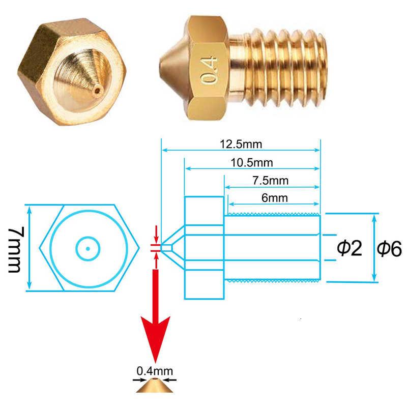 V5 V6 ノズル 0.4 ミリメートル 0.3 ミリメートル 0.2 ミリメートル 1.0 ミリメートル銅 3d プリンタ部品押出ネジ 1.75 ミリメートル 3.0 ミリメートルフィラメントヘッド真鍮ノズル部分