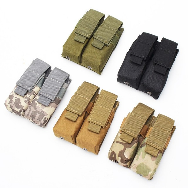 CQC Molle System Tactical Pistol Double Magazine Pouch Molle Clip 9MM Military Airsoft Mag Holder Bag Hunting Accessories 2