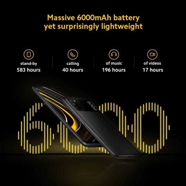 Smartphone POCO M3 Versão global  - 4GB RAM - 64gb/128gb - Snapdragon 662 Octa-Core- Bateria de 6000mah - Câmera de 48MP 2