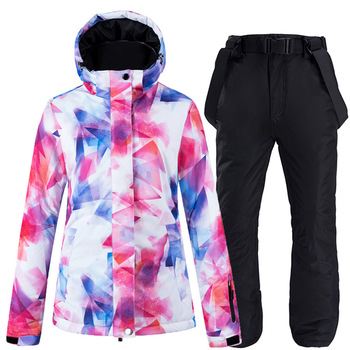 -30°C Colorful Snow Suit Women's Snowboard Clothing sets Winter Waterproof Thicken Costumes Outdoor Ski Jacket + Snow bibs Pants цена 2017