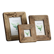 Recyclable pine wood photo frame 3 inches 6 in 7 in nostalgic home decoration living room worm hole