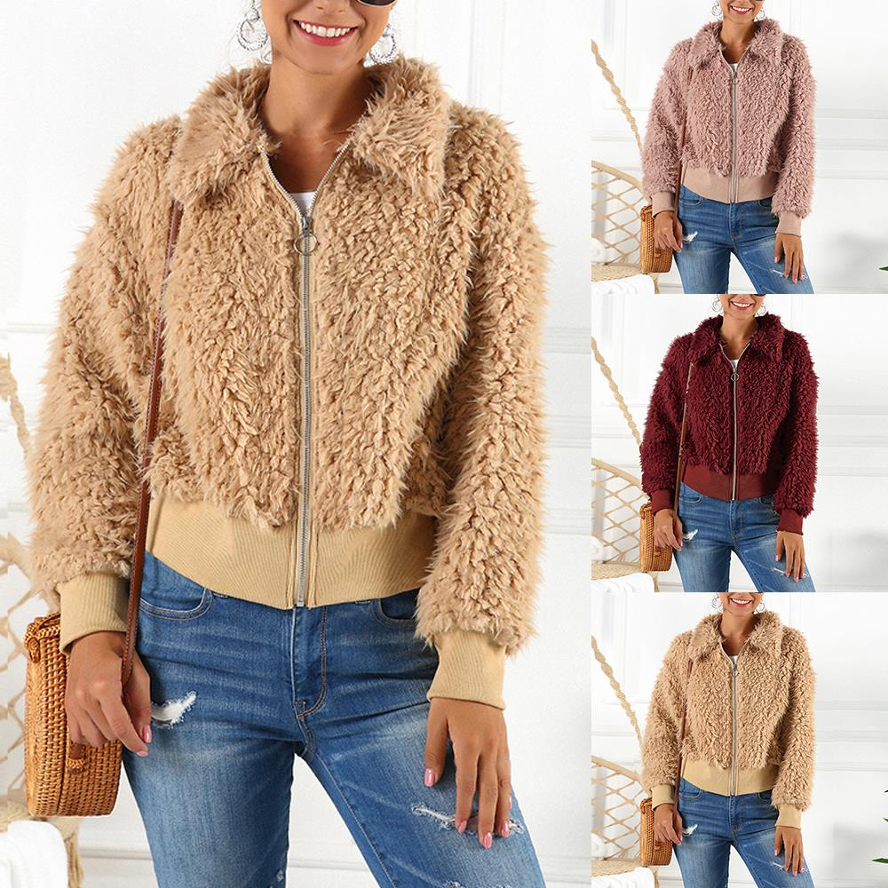 HEFLASHOR Women's Plush coat autumn winter Women Button Jacket Casual Warm turndown collar fur Outwear Mid-Length Woolen jackets 20
