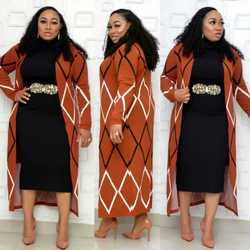 Automne mode style femmes africaines vêtements 2020 nouvelles femmes africaines deux pièces ensembles manteau et robe