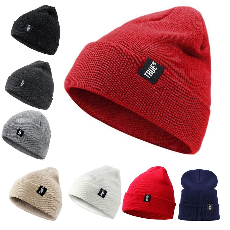 Men Women Winter Snow Ski Knitted Cotton Skull Cap Solid Color Stretchy Cuffed Beanie Hat Ear Warmer With Letters Logo Tag