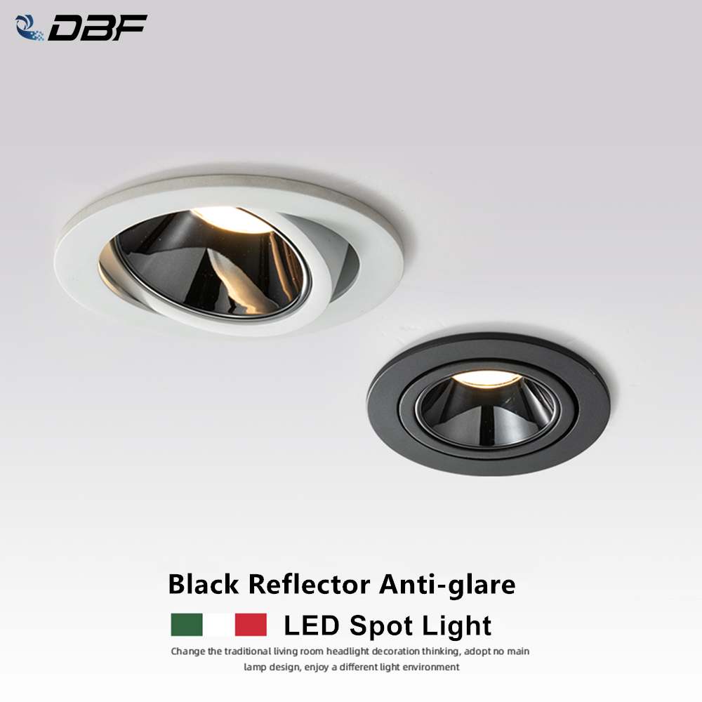 DBF 2020 New Anti-glare LED Recessed Downlight Dimmable 7W 12W LED Ceiling Spot Light 3000K 4000K 6000K Angle Adjust Spot Lamp