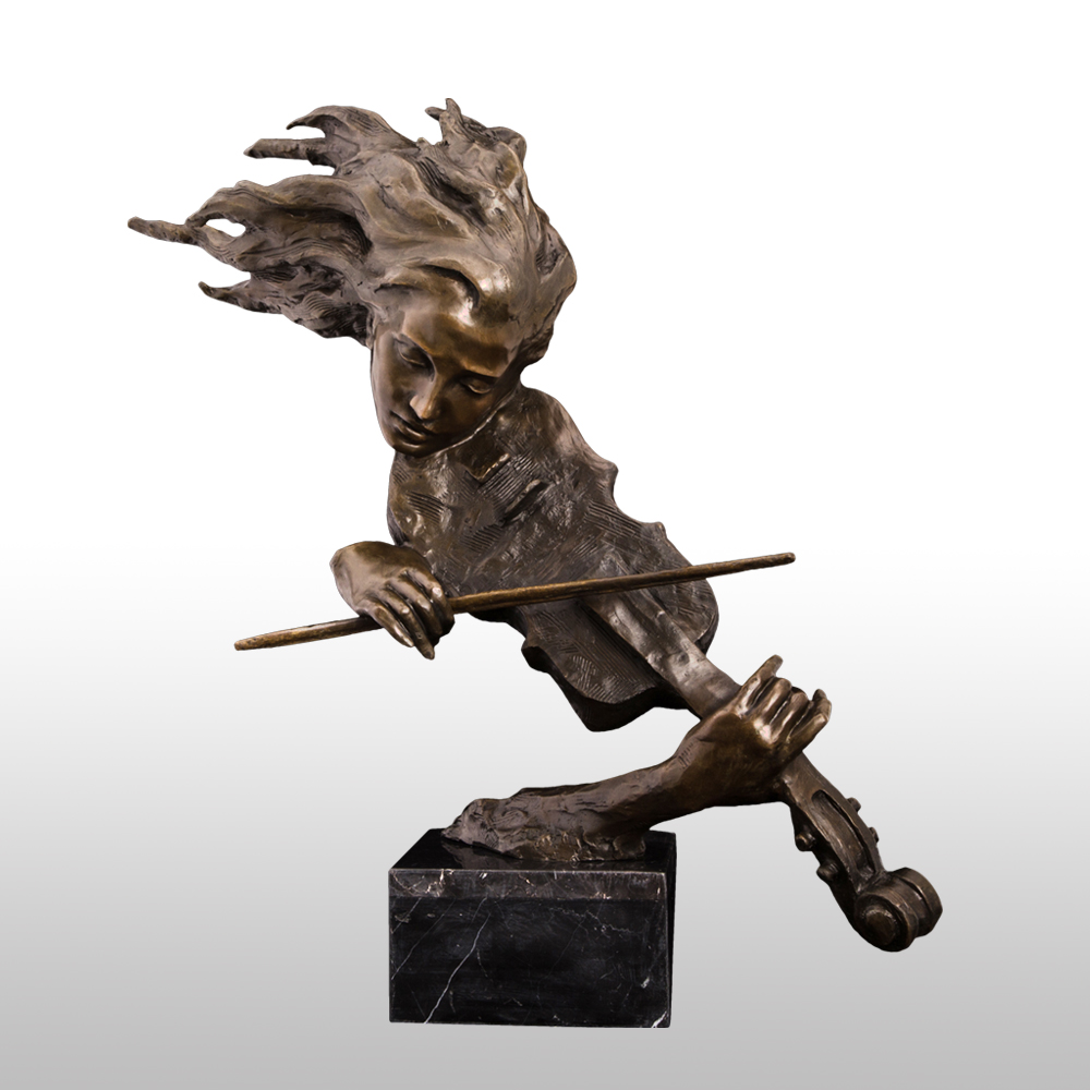 ATLIE Bronze The Violin Player Bust Sculpture Western Female Violinist Statue Figurine High-end Home Decor Accessories