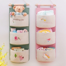 Multi-pocket Design Hanging Storage Bag Cotton Linen Sundries Organizer Decorating Kids Bedroom Livingroom 1PC