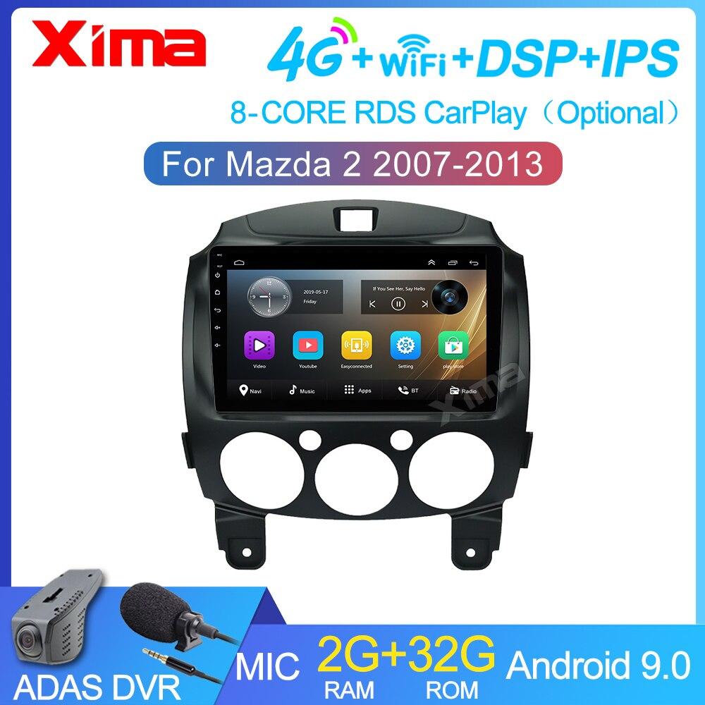 Автомагнитола 9 дюймов, 2 Din, мультимедийный видеоплеер на платформе Android 9,0 для Mazda 2 2007-2014