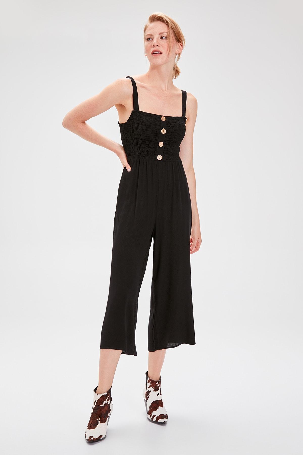Trendyol Black Gipeli Jumpsuit TWOSS19TU0046