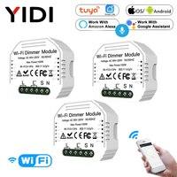 Regulador de intensidad inteligente Wifi de 1/2 vías, módulo inalámbrico con aplicación Tuya, Control por voz, regulador de luz de pared, Alexa y Google Home