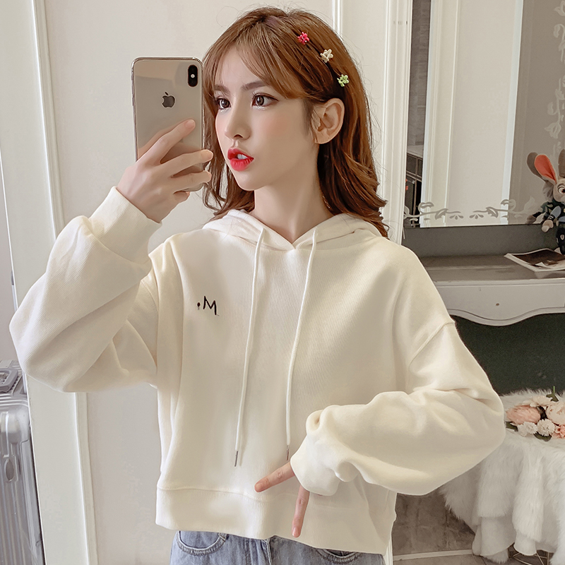 Fashion Street Hooded Sweatshirt for Women Autumn and Winter Casual Long-sleeved Solid Color Short Pullover Simple Hip Hop Top 82