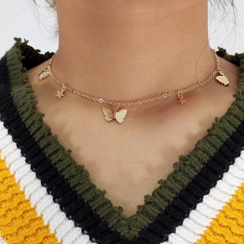 Colliers ras du cou pour femmes, chaîne étoiles, couleur or argent, bijoux, 4g, offre spéciale