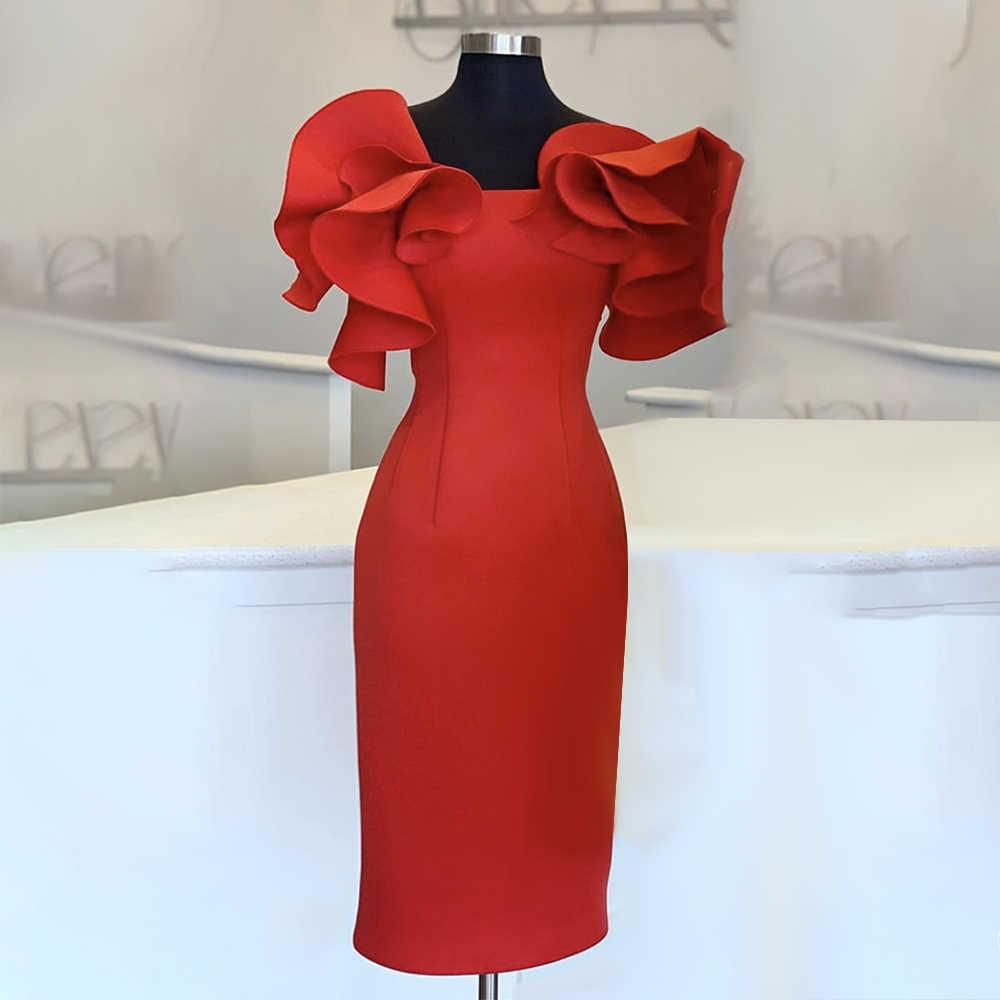 Женское Красное Облегающее платье с оборками, стильные вечерние платья миди для мероприятий, элегантное приталенное платье в африканском стиле