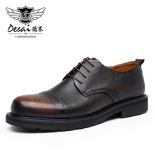 Derby Shoes Classic Business Formal Sport Men Genuine-Leather Casual DESAI Man Real Black