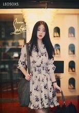אביב ובסתיו חדש קוריאני שמלת loose ארוך שרוולים מותניים אופנה פראי קטן פרחוני שיפון שמלה