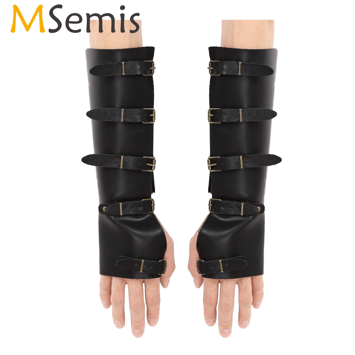 MSemis Steampunk Medieval Faux Leather Adjusta Metal Buckles Gauntlet Wristband Wide Bracers Protective Arm Warmers Armor Cuffs