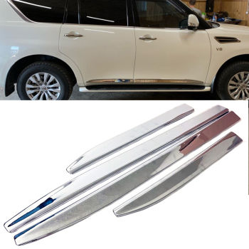 For Nissan Patrol Y62 Armada 2010-2016 2017 2018 Accessories Chrome Door Side Moulding Trim Strip For Nissan Patrol Parts 4PCS