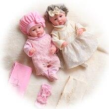 45CM Stofftier Puppen Bebe Rebron Weiche Silikon Baby Puppe Mit Kleid Kleidung Lebensechte Für Mädchen Geburtstag Geschenke Keine funktion Spielzeug
