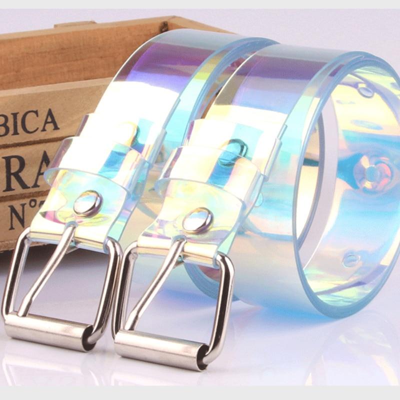 UK Women Waist Belt Laser Metal Buckle Casual Decoration Transparent Waistband