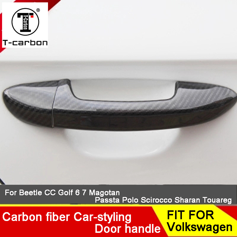 Autocollant de voiture en Fiber de carbone Auto poignée de porte bouton garniture extérieure couvre pour Volkswagen golf 6 Passat B8 Bora superbe 2010-2018