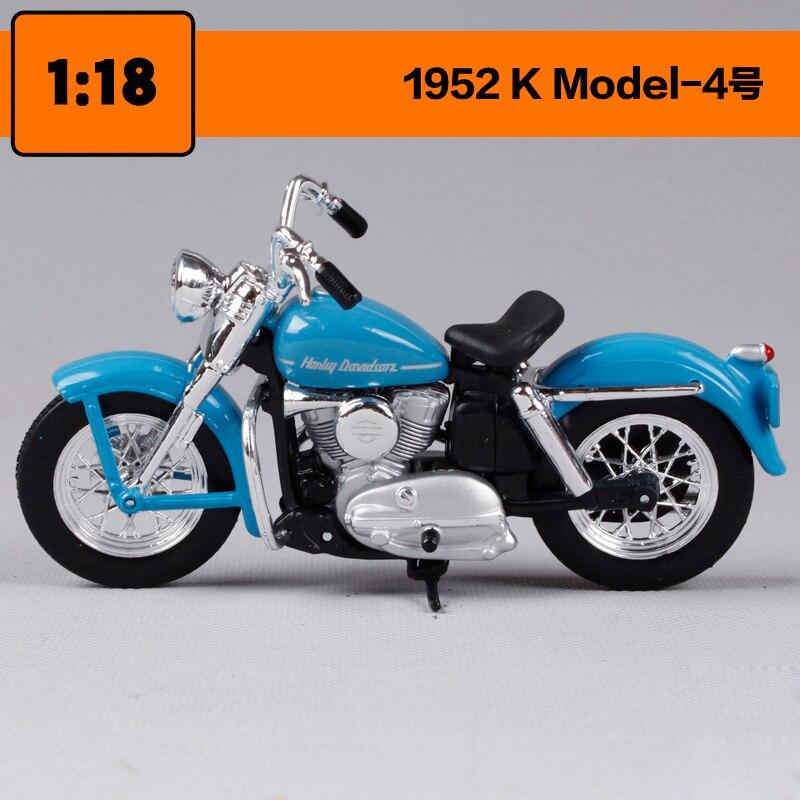 Maisto 1:18 Harley Davidson 1952 K Model Motorcycle Metal Model Toys For Children Birthday Gift Toys Collection
