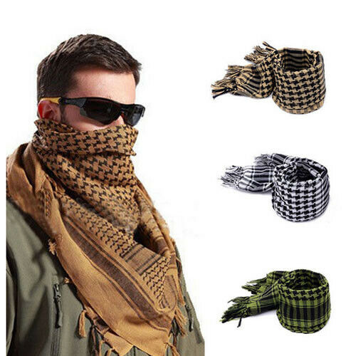 Fashion Lightweight Plaid Square Outdoor Shawl Military Arab Tactical Desert Army Shemagh KeffIyeh Arafat Scarf Anti Slobber