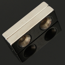 N35 Супер сильный блок кубовидный магнит 4 мм 2 отверстия Редкоземельные неодимовые магниты магнитный инструмент 30x10x5 мм