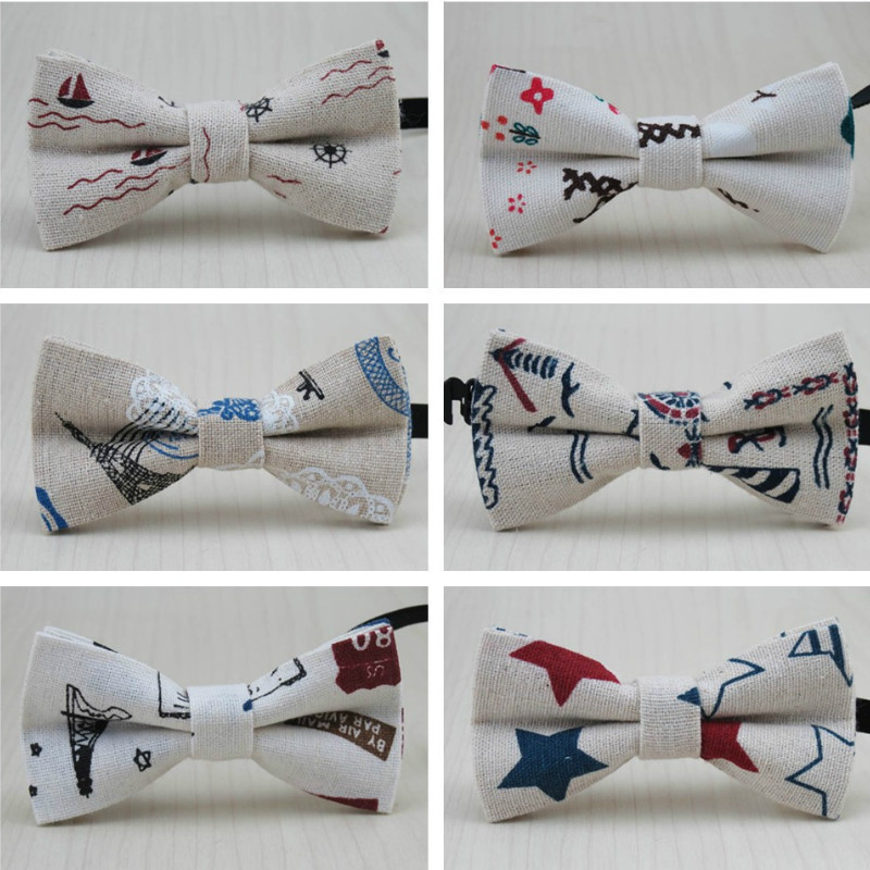 NEW Cartoon Boy Baby Kids Bow Tie Classic Linen Bowtie Shirts Sailboat Bowknot Floral Dot Striped Bow Ties Butterfly Cravats