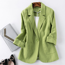 Blazer Feminino Women Linen Blazer Suit