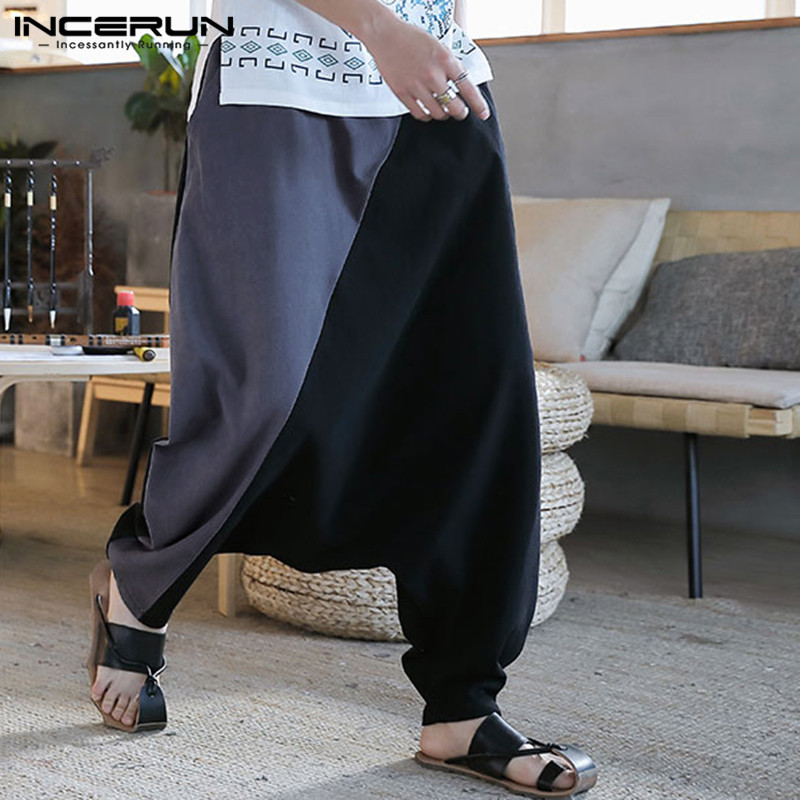 2019 Mens Harem Pants Patchwork Joggers Cotton Elastic Waist Hip-hop Vintage Loose Drop Crotch Pants Men Trousers S-5XL INCERUN