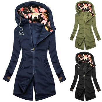 Women Fashion Floral Print Jacket Zipper Pocket Sweatshirt Long Sleeve Coat Fashion Winter Thick Warm Jacket Пуховик Женский 1