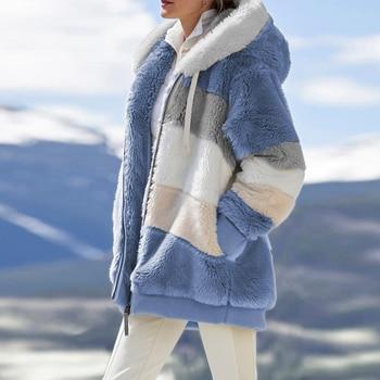 Winter Women Jacket Warm Plush Casual Loose Hooded Coat Mixed Color Patchwork Winter Outwear Faux Fur Zipper Ladies Parka Coat