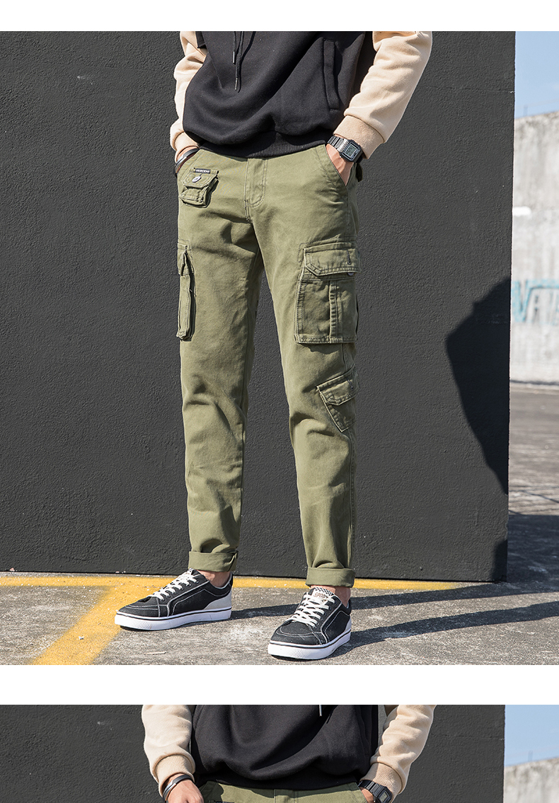 KSTUN Cargo Pants Men Straight Cut 100% Cotton Overalls Casual Pants Men Multi Pockets Camouflage Full Length Trousers Top Quality 16