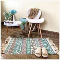 Retro Cotton and Linen Tassel Woven Carpet Floor Mat Sofa Living Room Bedroom Rug Cotton Tassels Yarn Dyed Bedspread Tapestry|Carpet|Home & Garden -