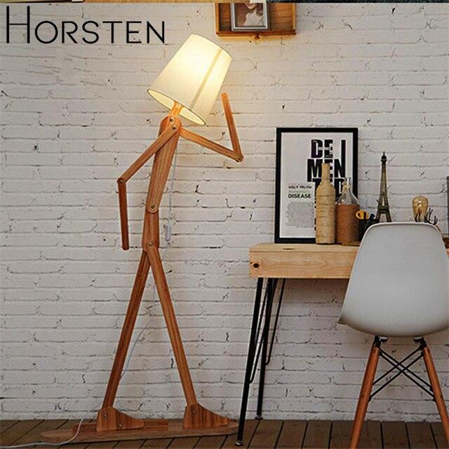 日本スタイルのクリエイティブ diy の木製のフロアランプ北欧木製生地スタンドライトリビングアールデコ調の照明