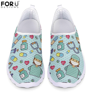 Image 1 - FORUDESIGNS Fashion Nursing Shoes Women Carton Nurse Heartbeat Design Breathable Mesh Running Sneakers for Ladies Casual Flats