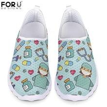 FORUDESIGNSแฟชั่นพยาบาลรองเท้าผู้หญิงกล่องพยาบาลการออกแบบHeartbeat Breathableตาข่ายรองเท้าวิ่งรองเท้าผ้าใบสำหรับสุภาพสตรีCasual Flats