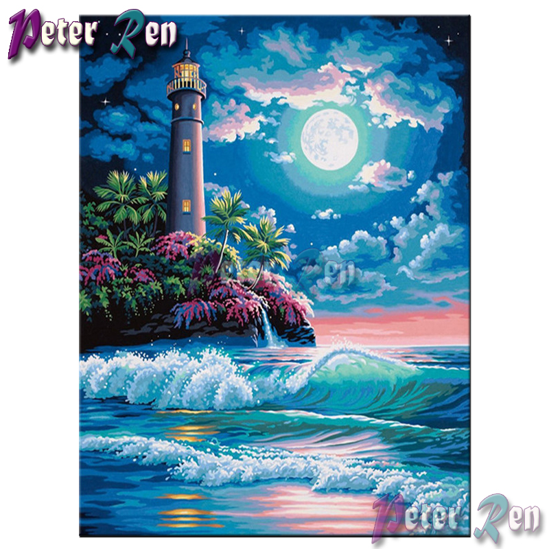 5d Ocean lighthouse moon Diamond painting Diy Square/round Rhinestones cross stitch embroidery picture Modern home decoration