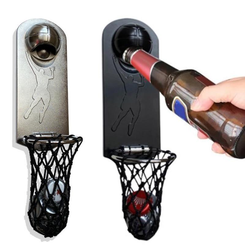 Beer Wine Openers Bottles Openers Wall Hanging Beer Bottle Openers Creative Basketball Hoop Shaped Gifts for Beer Lovers