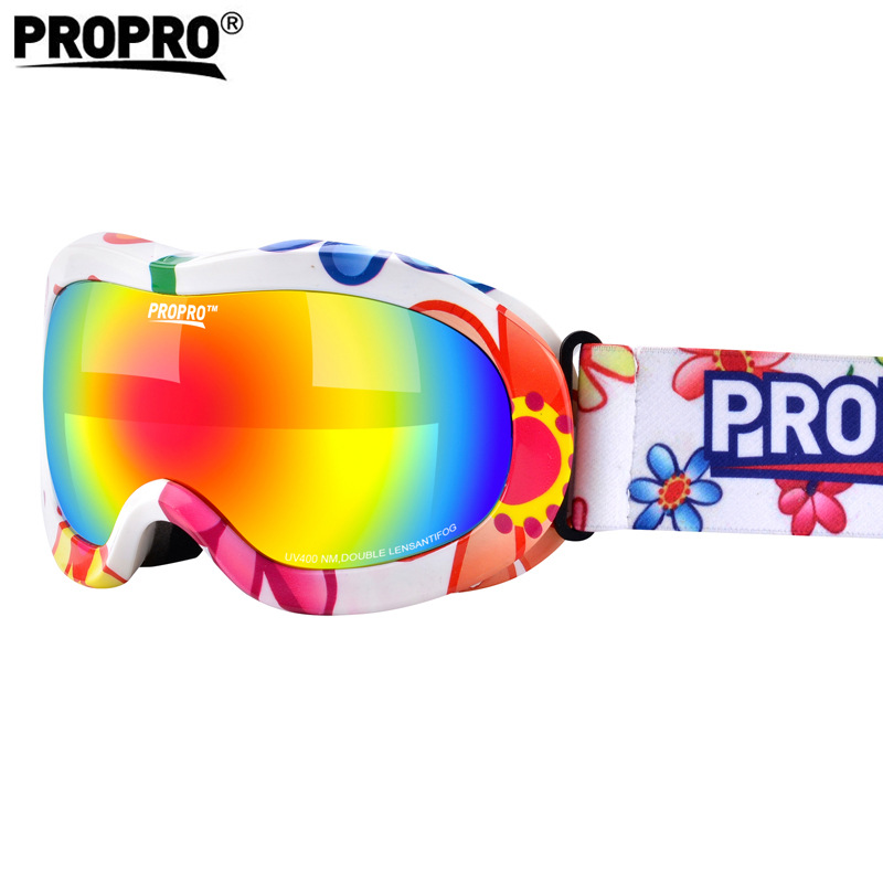 Propro New Style Children Ski Goggles Double Layer Shock-resistant Lens Colorful Coatings Warm Breathable Outdoor Snow Goggles