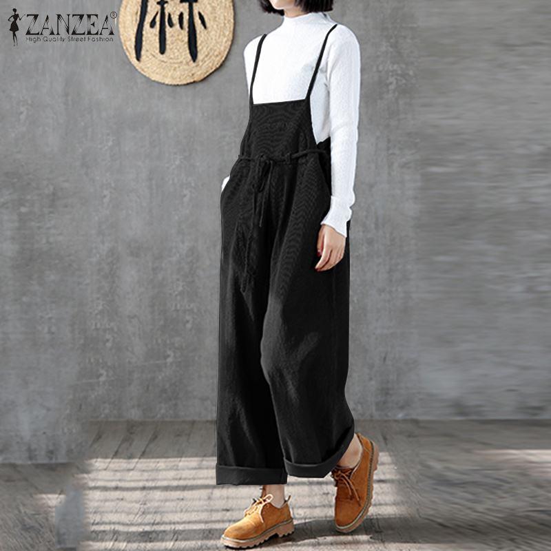 Jumpsuit ZANZEA Overalls For Women Long Jumpsuits Lady Elegant Long Pants Playsuit Plus Size Corduroy Rompers Womens Jumpsuits 7