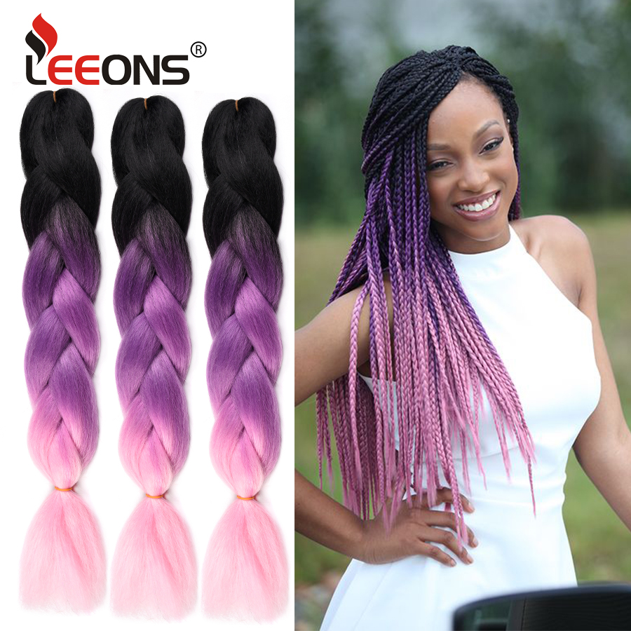 Leeons 24 Inches Jumbo Braiding Hair Synthetic Crochet Hair Extension Omber Red Pink Grey Kanekalon Hair Braids For Women