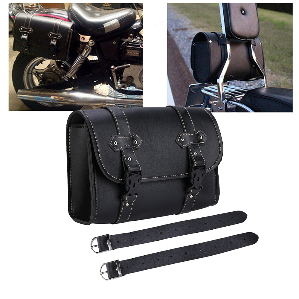 KEMiMOTO Motorcycle Saddle Bags Leather Storage Tool Sissy Bar Side Pouch Bags For Sportste 1200 For Honda Motor Parts