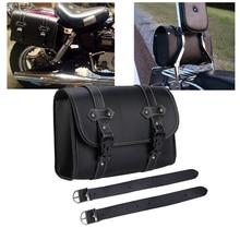 цена на Motorcycle PU Leather Saddle Bags Sissy Bar  Handlebar Bag Storage Tool Pouch Side Bag For Harley