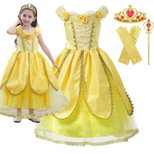все цены на 2-10T Princess Belle Dress Beauty and Beast Girl Children's Halloween party cosplay costume Dress