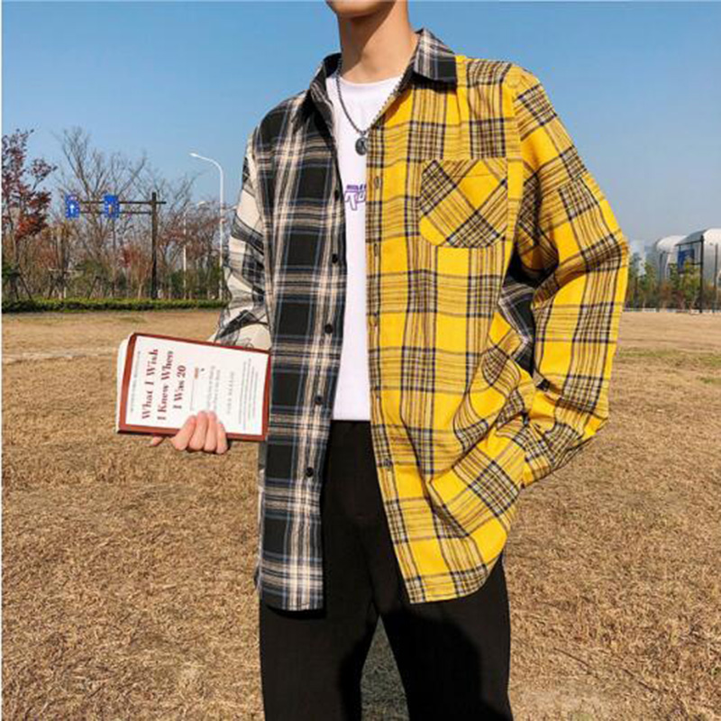 MODA VELOCE Blakc And Yellow Plaid Shirt Men Yellow Shirt For Men Summer Mens Shirts Casual Slim Fit