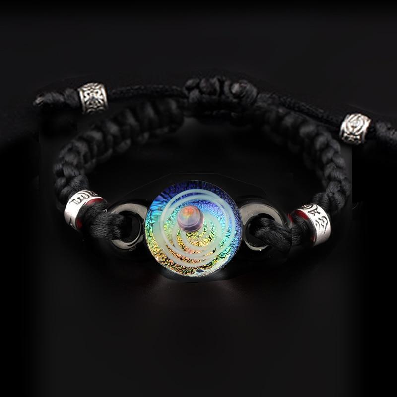 Space Themed Galaxy Blue Iris Stretch Bracelet with Gold Accent Galaxy Inspired Jewelry Adjustable Bracelet Glass Beaded Jewelry