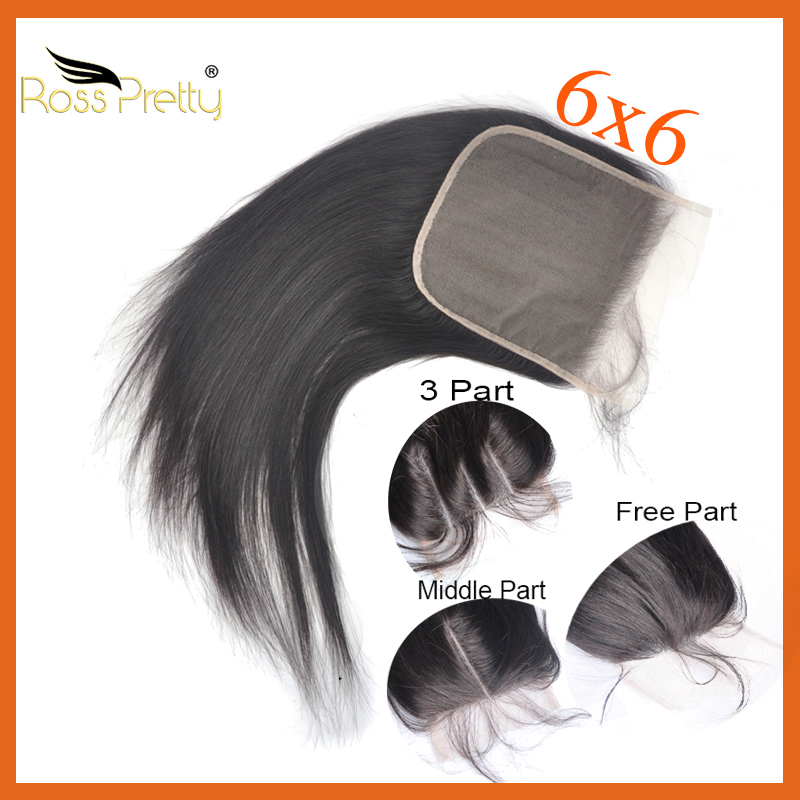 pre plucked 6x6 lace closure middle part and 3 part ross pretty brand